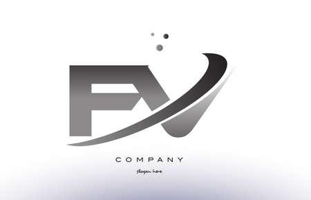 fv: fv f v alphabet letter logo black white grey swoosh silver font creative text dots company vector icon design template