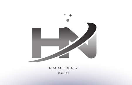 hn: hn h n alphabet letter logo black white grey swoosh silver font creative text dots company vector icon design template