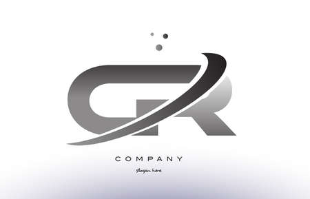 cr: cr c r alphabet letter logo black white grey swoosh silver font creative text dots company vector icon design template Illustration
