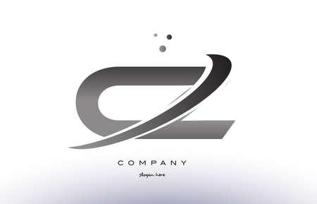 cz: cz c z alphabet letter logo black white grey swoosh silver font creative text dots company vector icon design template
