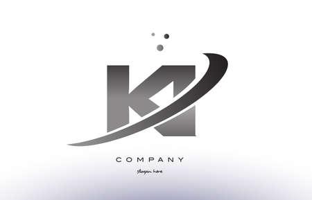 ki k i alphabet letter logo black white grey swoosh silver font creative text dots company vector icon design template