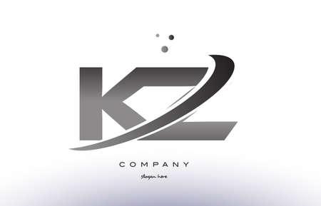 kz: kz k z alphabet letter logo black white grey swoosh silver font creative text dots company vector icon design template Illustration