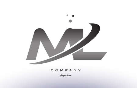 ml: ML M L alphabet letter logo black white grey swoosh silver font creative text dots company vector icon design template