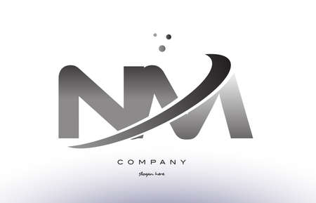 nm n m alphabet letter logo black white grey swoosh silver font creative text dots company vector icon design template