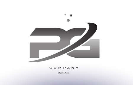 pg p g alphabet letter logo black white grey swoosh silver font creative text dots company vector icon design template