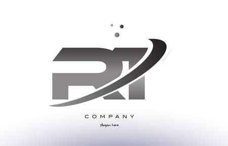 rt: rt r t alphabet letter logo black white grey swoosh silver font creative text dots company vector icon design template Illustration
