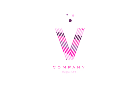 v alphabet letter logo pink purple line font creative text dots company vector icon design template