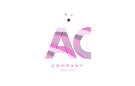 ac: ac a c alphabet letter logo pink purple line font creative text dots company vector icon design template