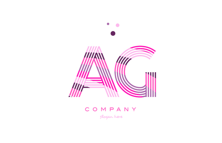 ag a g alphabet letter logo pink purple line font creative text dots company vector icon design template Illustration
