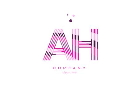 ah a h alphabet letter logo pink purple line font creative text dots company vector icon design template