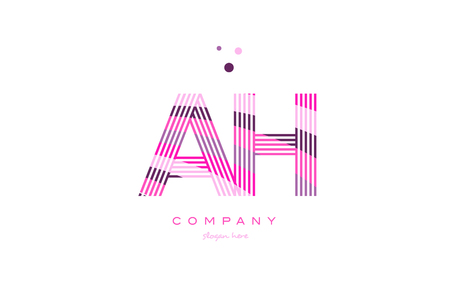 ah a h alphabet letter logo pink purple line font creative text dots company vector icon design template