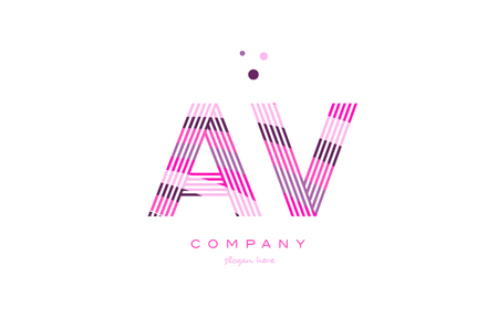 av a v alphabet letter logo pink purple line font creative text dots company vector icon design template Illustration