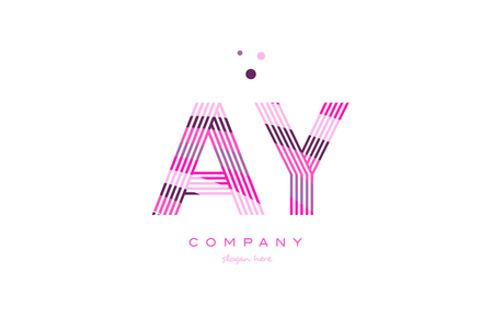 ay a y alphabet letter logo pink purple line font creative text dots company vector icon design template Stock Vector - 79355309