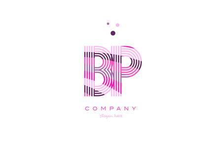bp b p alphabet letter logo pink purple line font creative text dots company vector icon design template