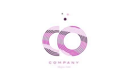 co c o alphabet letter logo pink purple line font creative text dots company vector icon design template