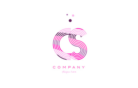 cs c s alphabet letter logo pink purple line font creative text dots company vector icon design template Logó