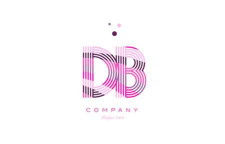 db d b alphabet letter logo pink purple line font creative text dots company vector icon design template