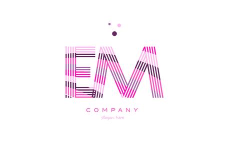 em e m alphabet letter logo pink purple line font creative text dots company vector icon design template Illustration