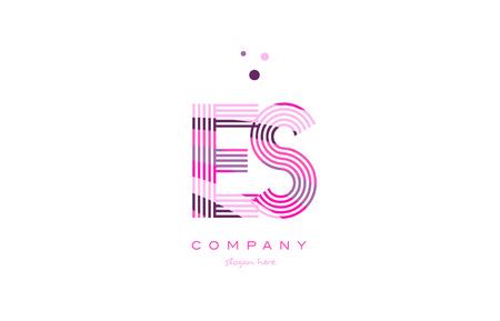 es e s alphabet letter logo pink purple line font creative text dots company vector icon design template Logó