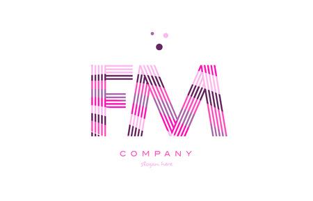fm: fm f m alphabet letter logo pink purple line font creative text dots company vector icon design template Illustration