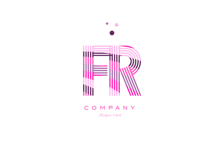 fr f r alphabet letter logo pink purple line font creative text dots company vector icon design template