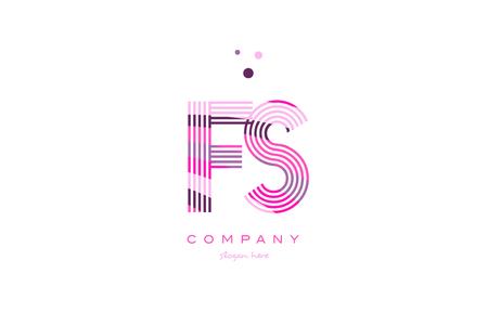 fs f s alphabet letter logo pink purple line font creative text dots company vector icon design template