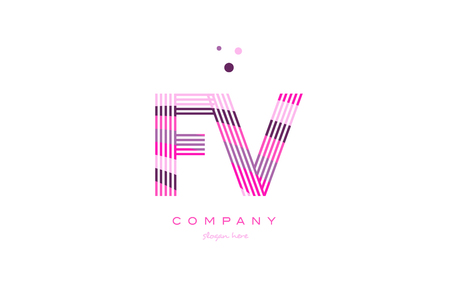 fv: fv f v alphabet letter logo pink purple line font creative text dots company vector icon design template Illustration