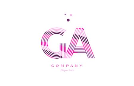 ga ga alfabet litera logo różowy fioletowy linia czcionka kreatywny tekst kropki firma wektorowa ikony szablon projektu