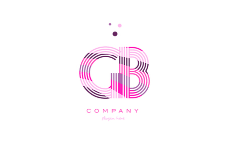 gb g b alphabet letter logo pink purple line font creative text dots company vector icon design template Illustration