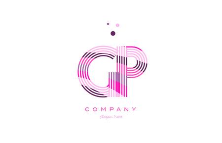 gp g p alphabet letter logo pink purple line font creative text dots company vector icon design template Illustration