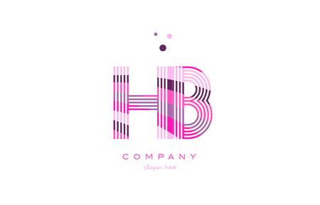 hb h b alphabet letter logo pink purple line font creative text dots company vector icon design template Vettoriali