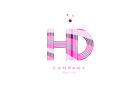 hd h d alphabet letter logo pink purple line font creative text dots company vector icon design template