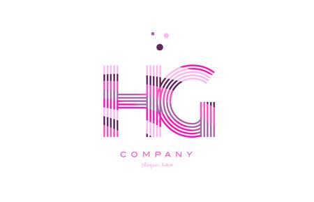 hg h g alphabet letter logo pink purple line font creative text dots company vector icon design template