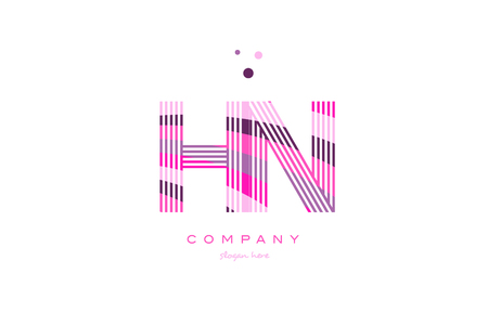 hn: hn h n alphabet letter logo pink purple line font creative text dots company vector icon design template