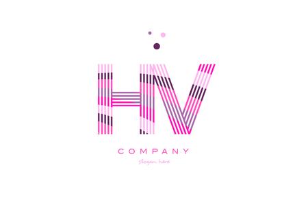 hv h v alphabet letter logo pink purple line font creative text dots company vector icon design template Logó