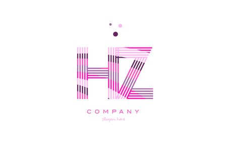 hz h z alphabet letter logo pink purple line font creative text dots company vector icon design template Illustration