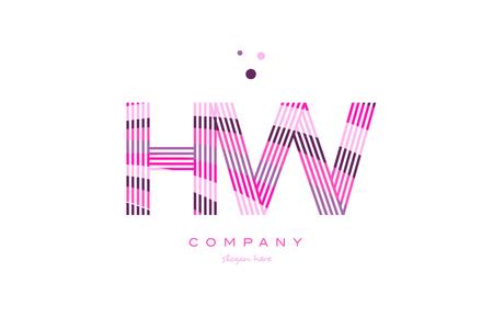 hw h w alphabet letter logo pink purple line font creative text dots company vector icon design template