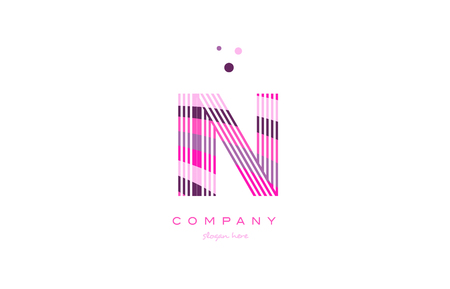 in i n alphabet letter logo pink purple line font creative text dots company vector icon design template