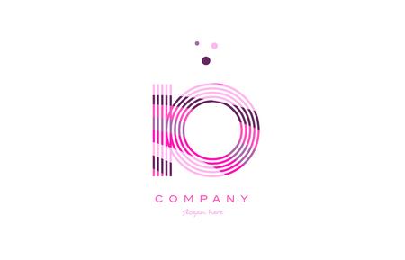 io i o alphabet letter logo pink purple line font creative text dots company vector icon design template Ilustração