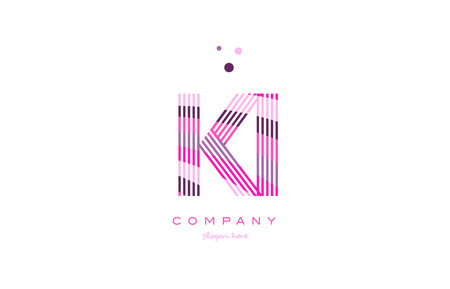ki k i alphabet letter logo pink purple line font creative text dots company vector icon design template