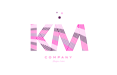 km k m alphabet letter logo pink purple line font creative text dots company vector icon design template Stock Vector - 79355014