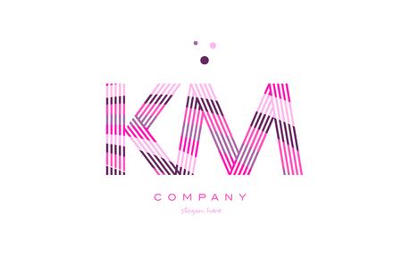 km k m alphabet letter logo pink purple line font creative text dots company vector icon design template Illustration