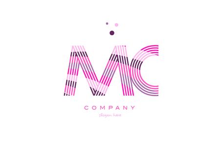 mc m c alphabet letter logo pink purple line font creative text dots company vector icon design template Illustration