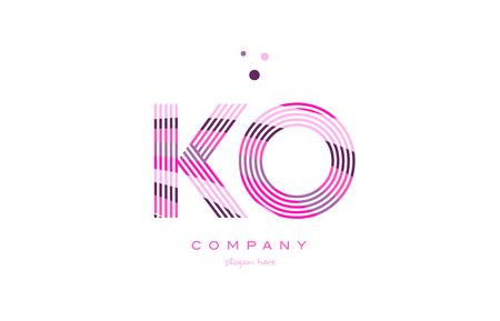ko: ko k o alphabet letter logo pink purple line font creative text dots company vector icon design template
