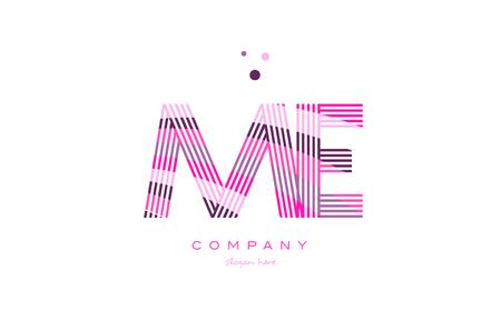 e business: me m e alphabet letter logo pink purple line font creative text dots company vector icon design template