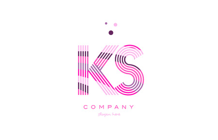ks k s alphabet letter logo pink purple line font creative text dots company vector icon design template Ilustrace