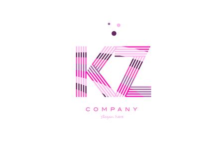 kz: kz k z alphabet letter logo pink purple line font creative text dots company vector icon design template Illustration