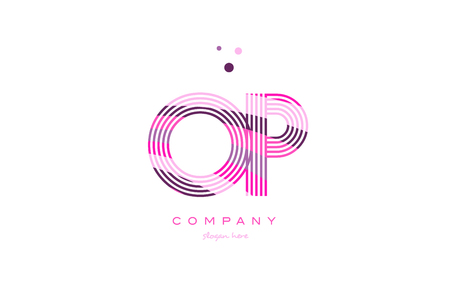 op o p alphabet letter logo pink purple line font creative text dots company vector icon design template Ilustração