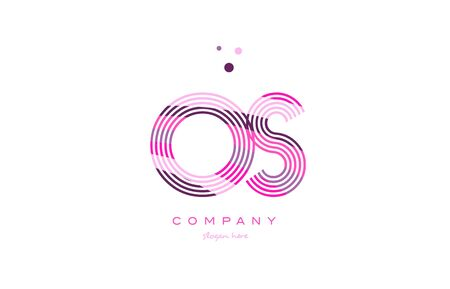 os o s alphabet letter logo pink purple line font creative text dots company vector icon design template Illustration