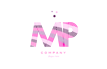 mp: mp m p alphabet letter logo pink purple line font creative text dots company vector icon design template Illustration